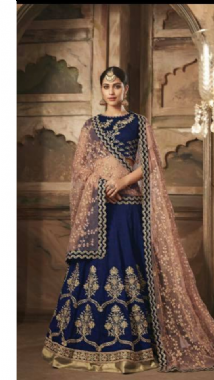 Navy Blue & Peach Lehenga
